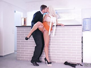 Blonde MILF on high heels, insane hard sex and orgasms