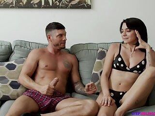 Sensual cunnilingus makes emotional brunette babe Riley Jean groan