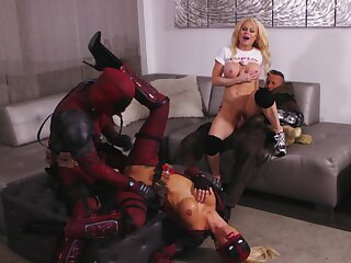 Hot pornstar cosplay fourway with Jessica Drake and Nikki Delano
