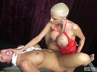Joslyn James and Shay Fox lesbian MILFs strap-on sexual congress