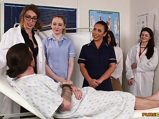 Aroused nurses in the clinic approachable for a one maturity cFNM orgy