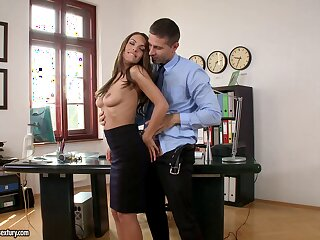 Gorgeous joyless Dominica Fox moans during anal sex in the office