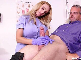Experienced man loves this busty nurse in scenes of veritable handjob