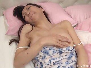 Japanese chick Nagase Kyouko gives a blowjob and masturbates
