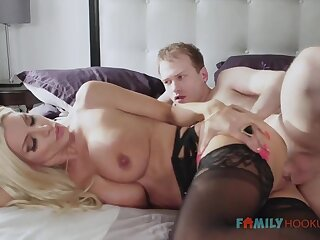 Simmering blnde COUGAR is wearing softcore, dark-hued stocking while having fuck-a-thon give say no to spouse's mate