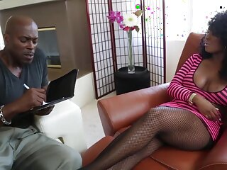 X busty curly MILF Layton Benton is into sucking fat cock of Lexington Steele