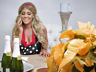 Interracial fucking aloft a stool with fake boobs wife Kayla Kayden