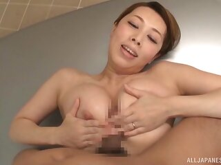Asian with big tits, bats POV cam action