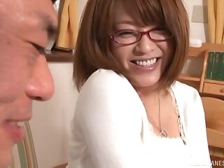 Conscientious fucking with a trimmed pussy Japanese girlfriend with glasses