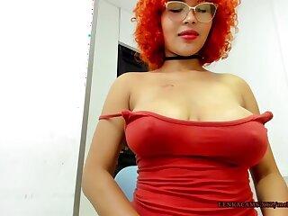 Saggy big tits red head lady on cam