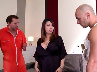 Pair of tasty dicks for busty Japan wife on fire